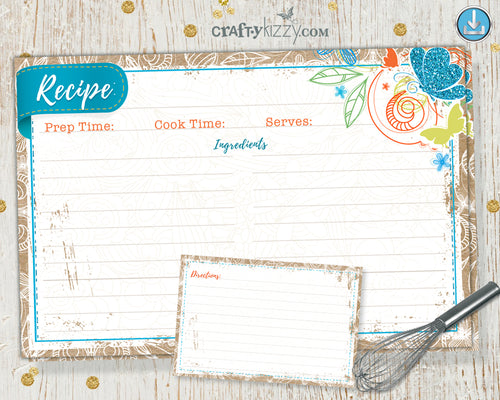 Recipe Card Printable - Cooking Party Favors - Vintage Retro Kraft Card - Baby Shower Favor - INSTANT DOWNLOAD - CraftyKizzy
