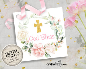 Baptism Favor Tags - Holy Communion Gift Tags - Printable Christian Gift Tag - God Bless Party Favors - INSTANT DOWNLOAD