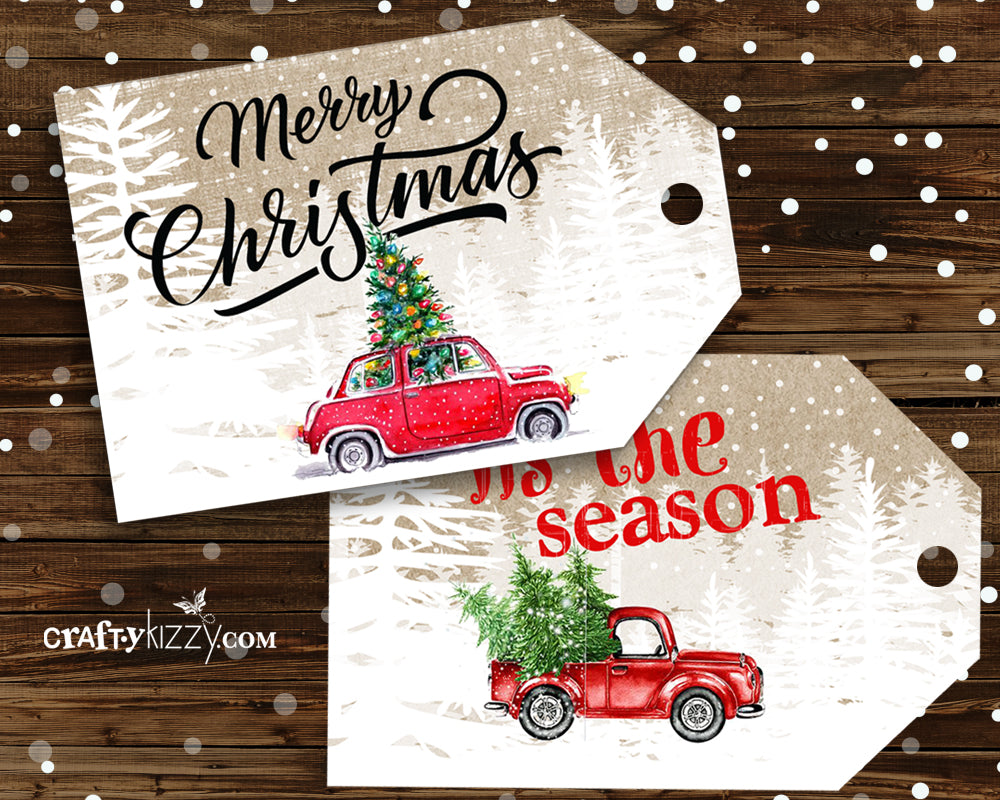 Red Truck Merry Christmas Favor Tags - Craft Tags - Vintage Red ...
