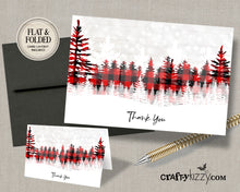 Red Lumberjack christmas thank you card