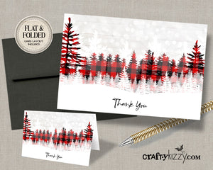 Flannel Christmas Thank You Cards - Christmas Thank You Note - INSTANT DOWNLOAD - CraftyKizzy