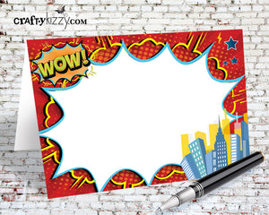 Superhero Birthday Food Tents - DIY Comic Book Table Tent - Printable Place Cards - Buffet Card - INSTANT DOWNLOAD - CraftyKizzy