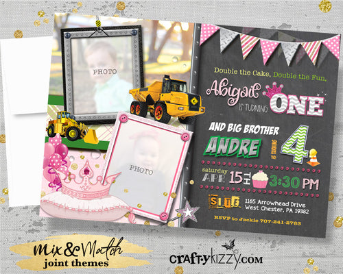 Construction Joint Birthday Invitation - Dump Truck Joint Invitations - Princess and Tiaras Party - Printable - CraftyKizzy