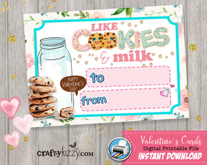 Girl Valentines Cards - Cookies and Milk Girls Valentine's Day Fill In The Blank We go together like Milk & Cookies Printable Classroom Cards - Kids Teachers - INSTANT DOWNLOAD - CraftyKizzy