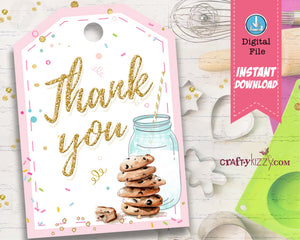 Cookie Thank You Favor Tags - Cookie Decorating Party Favors - Cookies and Milk Birthday Tag - INSTANT DOWNLOAD - CraftyKizzy