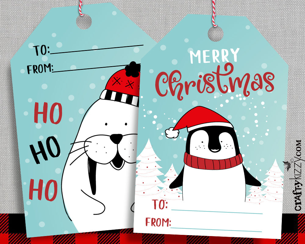 Cute Holiday Gift Tags - Christmas Favor Tags - Merry Christmas - Ho Ho Ho Tags - Holiday Gift Tags - INSTANT DOWNLOAD