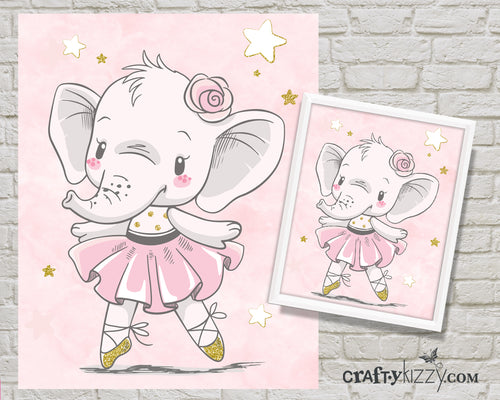 Dancing Baby Ballerina Elephant Nursery Room Art Print - Pink Tutu Elephant Printable Illustration - Ballet - Wall Decor - INSTANT DOWNLOAD - CraftyKizzy