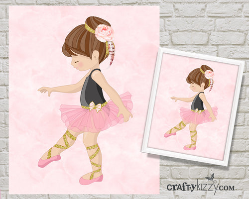 Ballerina Dancer Nursery Room Art Print - Ballerina Pink and Black Printable Illustration - Wall Decor - INSTANT DOWNLOAD - CraftyKizzy