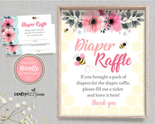 Bee Diaper Raffle Ticket - Bee Baby Shower Games and Printable Diaper Raffle Sign - Bee Themed Party Bundle - Diaper Raffle Sign and Card Game - INSTANT DOWNLOAD