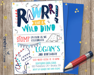 Dino-mite Boy Birthday Invitation