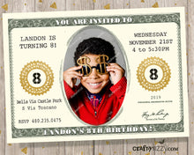 Dollar Bill Birthday Invitation - Money Invitations - Birthday Bucks Party - Printable Cash Invitations - Currency Ticket Invite