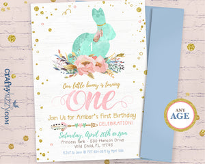 Easter Floral First Birthday Invitation