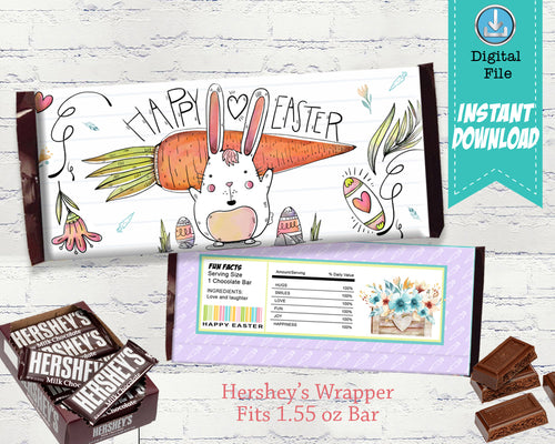 Easter Candy Bar Wrapper - Teacher Gift Ideas - Easter Bunny Hershey Bar Party Favors - INSTANT DOWNLOAD