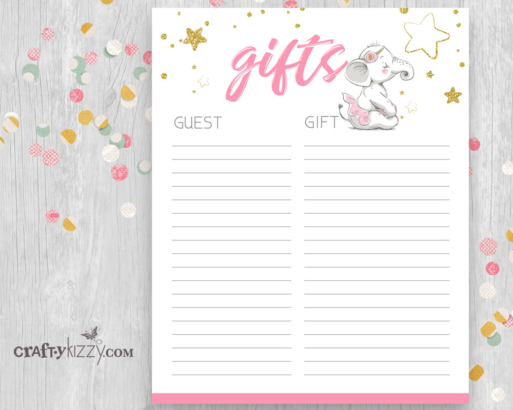 Pink Elephant Baby Shower Gift List Printable - Baby Girl Pink Gift List - INSTANT DOWNLOAD - CraftyKizzy