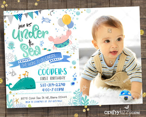 Boy Sea Animal Under the Sea Invitation