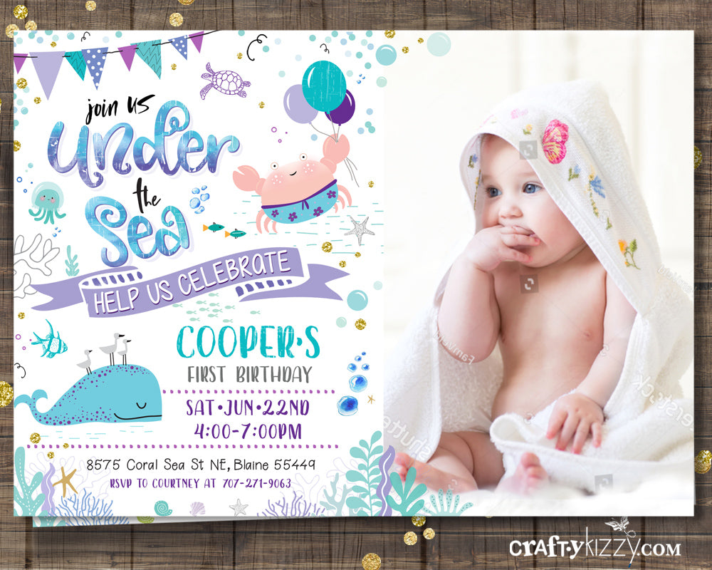 Girls First Birthday Ocean Invitation - Sea Animal Invitations - Purple Teal Under The Sea Party - Nautical
