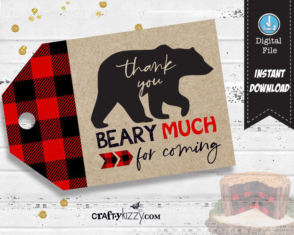 Bear Thank You Favor Tags - Red Flannel Birthday Favors - Lumberjack Baby Shower Favor Tag - INSTANT DOWNLOAD - CraftyKizzy