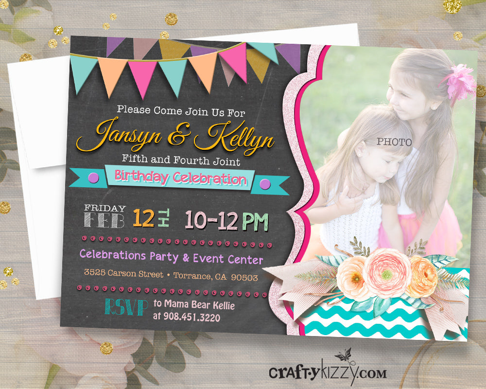 Girl Sibling Birthday Invitations - Joint Party Invitation - Watercolor Floral Invitations - Twin Girls Birthday Invitation - CraftyKizzy