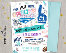 VSCO Girl Joint Birthday Invitation - Joint Football Party Invitation - Touchdown Sibling Boy Girl Invitations - Twins Printable - CraftyKizzy