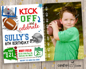 Football Birthday Invitation - Sport Invitation - Hut Hut Hike - American Football Party Invitations - CraftyKizzy