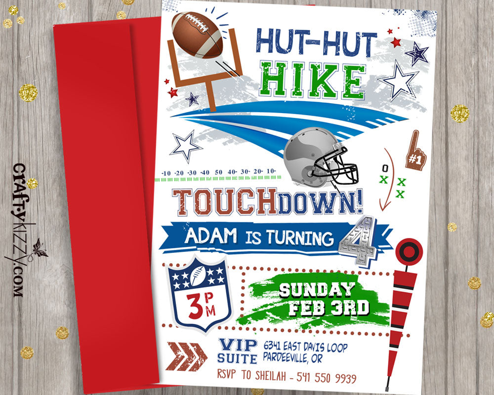 Boy Football Birthday Invitation - Touchdown Sport Invitations - American Football Party - CraftyKizzy