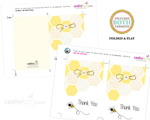 Bumble Bee Thank You Card - Mom To Bee Thank You Cards - Printable - Gender Neutral - INSTANT DOWNLOAD - CraftyKizzy