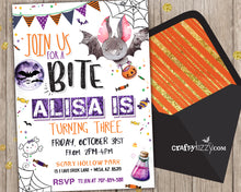 Witches and Bats Halloween Birthday Invitations