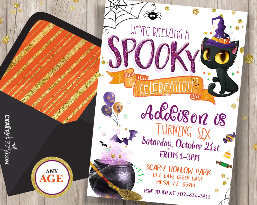 Halloween Birthday Invitation Halloween Invitation For Kids Fall Birthday Invitation Spooky Celebration - Cute Halloween Watercolor Invite - CraftyKizzy