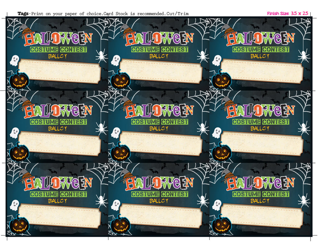 halloween costume contest ballot tags