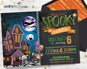 Spooky Boy Halloween Birthday Invitation - Skeleton Warewolf Ghost Invitations - CraftyKizzy