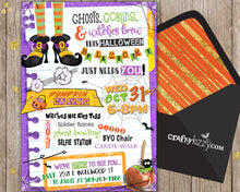 Ghosts Goblins and witches brew block party invitation