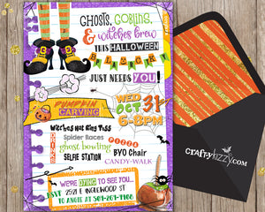 Fun Children's Halloween Block Party Invitation - Halloween Neighborhood Party Invitations - Fall Festival Party Printable - CraftyKizzy