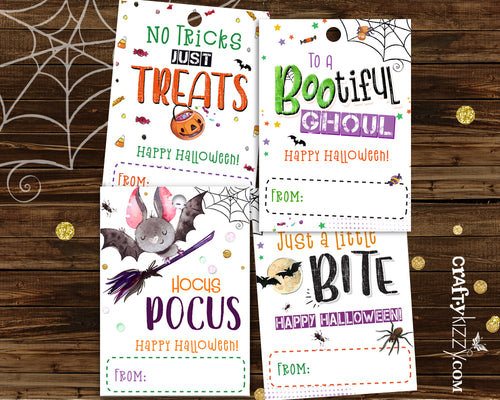 Halloween Party Favor Tags - Printable Gift Tags For Kids - Halloween Treat Bag Labels - DIY INSTANT DOWNLOAD - CraftyKizzy