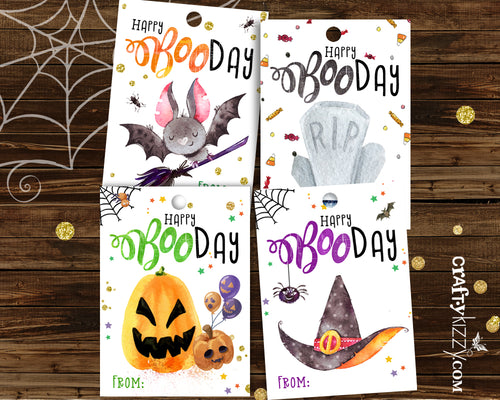 Halloween Birthday Tags - Kids Happy Booday Favor Tags - Printable Halloween Gift Tags - DIY INSTANT DOWNLOAD - CraftyKizzy