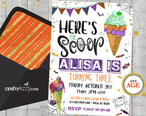 Halloween Ice Cream Birthday Party Invitation - Eye Scream Party Invitation for kids Fall Birthday Invitations - CraftyKizzy