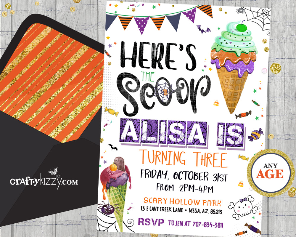 Ice Cream Halloween Party Invitation