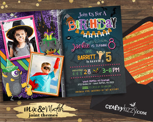 Joint Costume Party Birthday Invitation Halloween Birthday Invitations -  Twins - Monster Invitation - Witch Invitation - CraftyKizzy