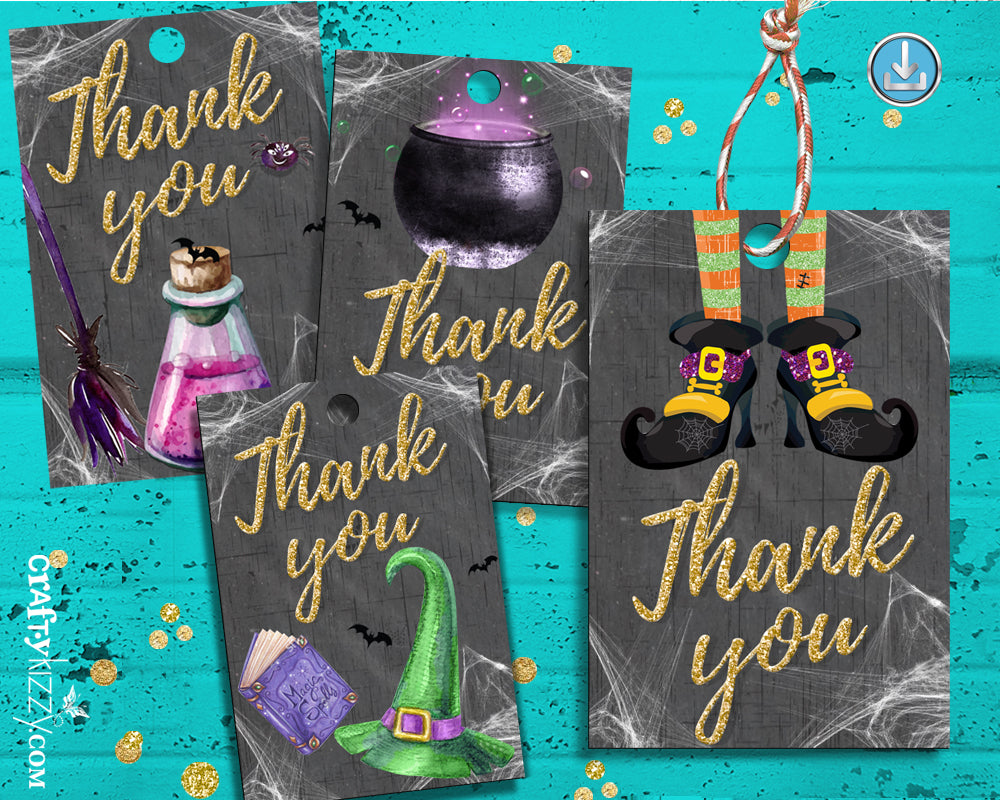 Halloween Party Thank You Favor Tags - Printable Birthday Tag For Kids - Halloween Treat Bag Labels - INSTANT DOWNLOAD - CraftyKizzy