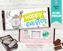 Happy Easter Candy Bar Wrapper - Bunny Party Favor - Kids Gift Basket Ideas - Teacher Gift Ideas - INSTANT DOWNLOAD - CraftyKizzy