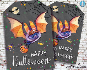 Happy Halloween Party Favor Tags - Printable Gift Tags For Kids - Halloween Treat Bag Labels - DIY INSTANT DOWNLOAD - CraftyKizzy