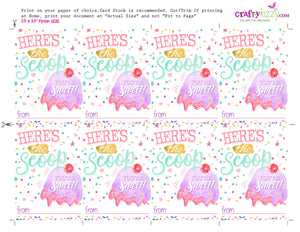 Ice Cream Valentine's Cards for kids