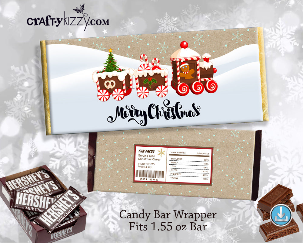 Gingerbread Christmas Holiday Favors Chocolate Bar Wrapper - Printable Hershey's Bar Label - INSTANT DOWNLOAD