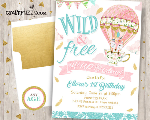 Up Up and Away First Birthday Invitation - Girl Wild and Free Hot Air Balloon Birthday Invitations Boho Shabby Chic Printable Invite - CraftyKizzy