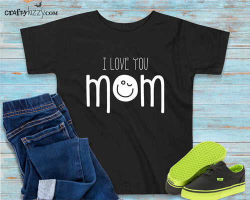 Toddler I Love Mom Shirt - Emoji Mom Heart Tshirt - Mother's Day T-shirt - I Heart Mom Tee - Emoji Smiley Face Shirts - Children's Mommy Shirt