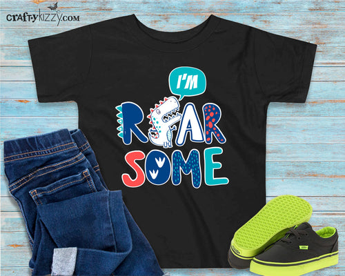 Dinosaur Trex Roarsome Tshirt - Roar-Some Tyrannosaurus Rex T-shirt - Dinosaur Party Shirt - Funny Dino Pun Shirts - Kids Wild Dino Tee - Toddler Girl Boy