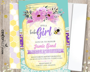 Mason Jar Bee Baby Shower Invitation - Purple Lavender It's A Girl Bumble Bee Invitations - Baby Shower Ideas - Personalized - CraftyKizzy