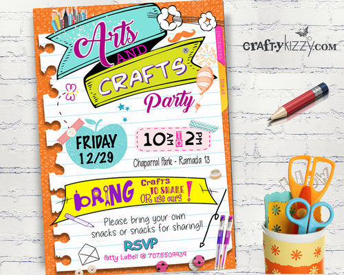 Arts and Crafts Children Event Invitations - Kids Play Date Party Invitation - Church Gathering Invitations JW Party - School Fundraiser Event - CraftyKizzy