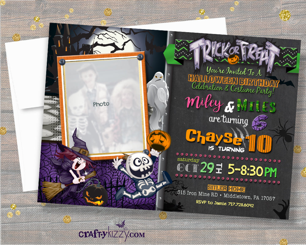 Joint Halloween Birthday Invitation - Triplets Halloween Birthday Bash Invitations Boy Girl Birthday Party - CraftyKizzy