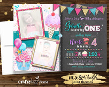 Ice Cream Sibling Girls Birthday Invitation - Sweet Treats Girl Joint Birthday Invitations - Cupcake Printable Party Invite - CraftyKizzy