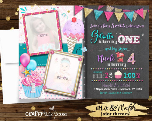 Joint Ice Cream Birthday Invitations